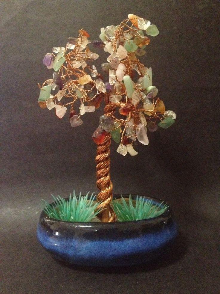 Estate Find - Gemstone Tree Sculpture in Pot - Copper Wire, Quartz, Amethyst etc