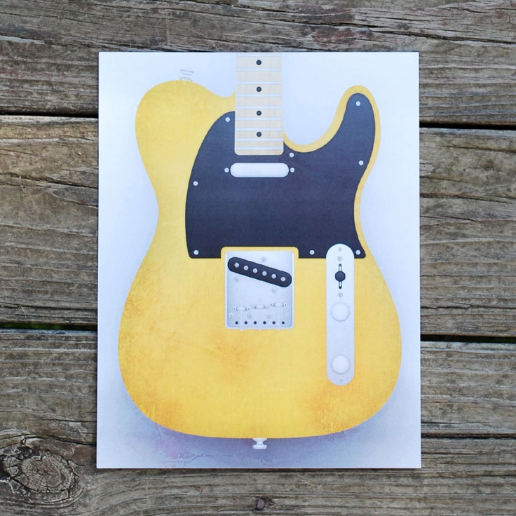 Fender Telecaster Guitar Limited Run Print  by HopperDesignStudio, $15.00