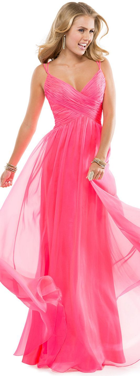 Elegant A-line Spaghetti Straps Ruching Floor-length Chiffon Evening Dresses