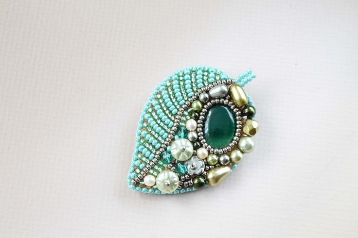 Bead embroidery Brooch Beadwork Green olive от LenaSinelnikArt