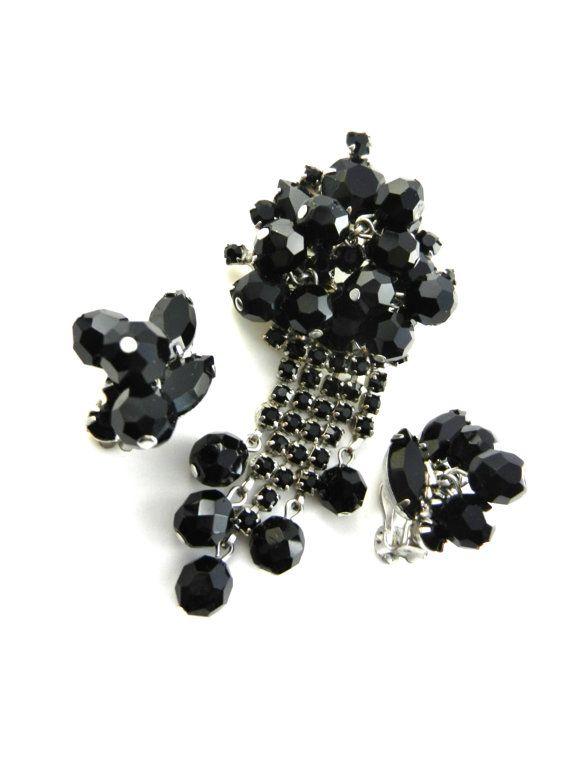 1950s Vintage Jet Black Dangle Earrings & Pin Set  by RAKcreations