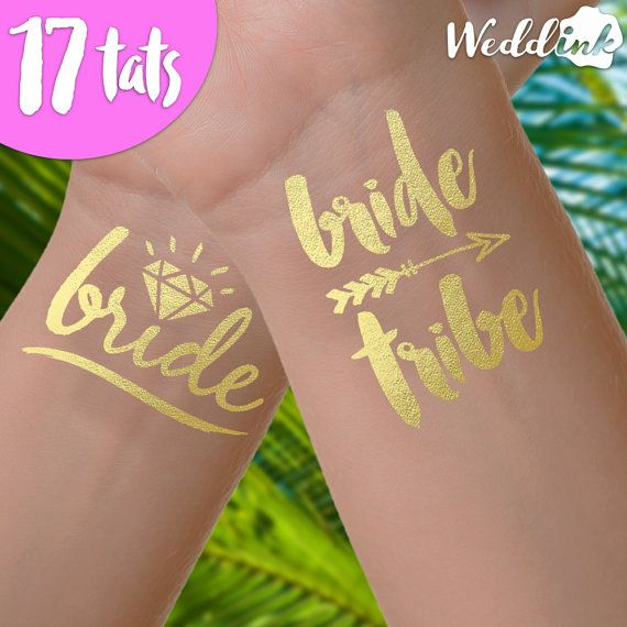 Bachelorette party tattoos, bride tribe tattoos | 17 | bachelorette tattoo, bridesmaid gifts, gold foil tattoos, bachelorette party favor