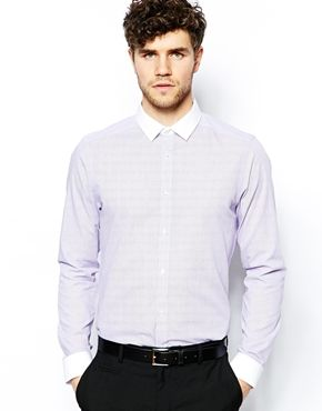 New Look Check Shirt with Contrast Collar