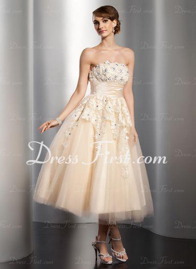 A-linjeformat Axelbandslös Tea-Längd Satin tyll Bröllopsklänning med Rufsar Spets Pärlbrodering Blomma (or) (002014765)