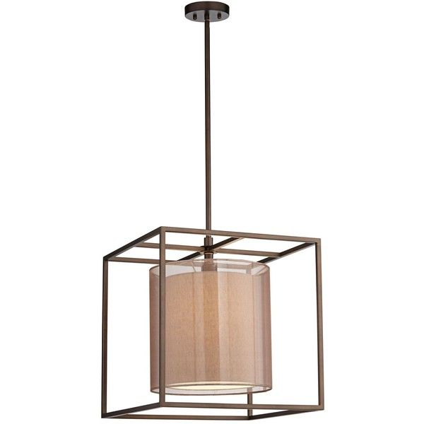 "Possini Euro Design Conroe Oil-Rubbed Bronze Metal Cube 18"" Wide... ($300) ❤ liked on Polyvore featuring home, lighting, ceiling lights, brown, chandeliers, oil rubbed bronze chandelier lighting, oil rubbed bronze chandelier, cube lights, oil rubbed bronze lighting and brown lamps"