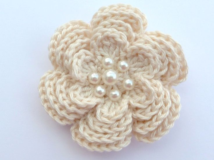 Crochet brooch. Large crochet flower brooch, Mother's day gift, birthday gift, brooch pin, flower corsage, Christmas gift, stocking stuffer by MyfanwysMakes on Etsy https://www.etsy.com/uk/listing/211555357/crochet-brooch-large-crochet-flower