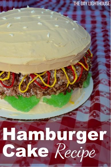 Hamburger Cake Recipe! Cool cake idea for a barbecue or party with friends and family. Next time you do a BBQ add this to your party menu! Super easy and really cool cake idea. Would also make a great birthday cake for the husband. #boy #man #cake