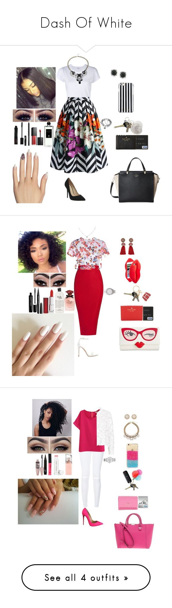 """""""Dash Of White"""" by qwert123456 ❤ liked on Polyvore featuring Serge Lutens, RE/DONE, Chicwish, Office, Mark Broumand, MICHAEL Michael Kors, Topshop, Kate Spade, Smashbox and Static Nails"""