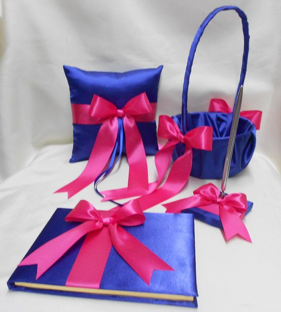 THE SATIN RIBBONS CAN BE CHANGED TO THE BRIDES WISHES !!!!  THIS IS A HANDCRAFTED CUSTOM MADE SIMPLY ELEGANT ROYAL BLUE AND FUCHSIA SET FOR YOUR