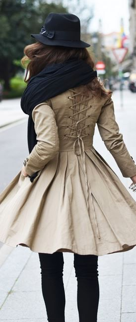 This trench coat ♥ I love the lace back corset detailing!