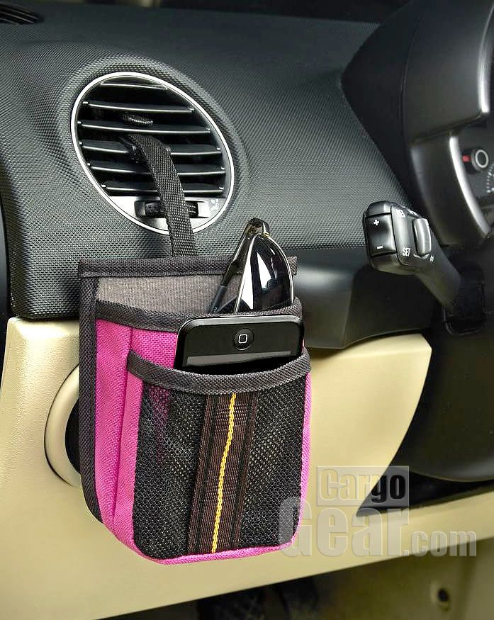 The High Road Driver Pockets organizer is the perfect small holder for cell phone and sunglasses - your two driving necesssities. It hooks on to any air vent.
