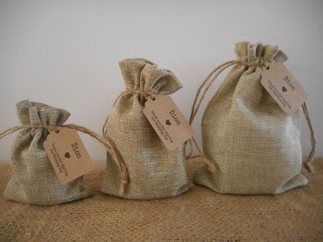 Natural Jute Bags, Small Medium Large Hessian Style Drawstring Bags, Wedding…