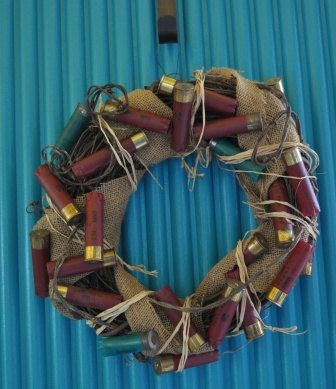 Shotgun Shell Barbed Wire Burlap Hunting Themed by RainboThreads