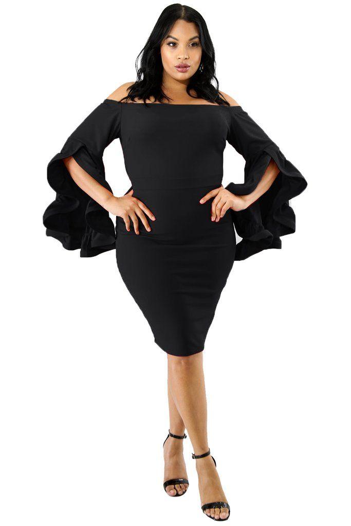 a080d0cbe089 KELLIPS Cocktail Black Plus Size BodyCon Dress in 2019 | Latest ...