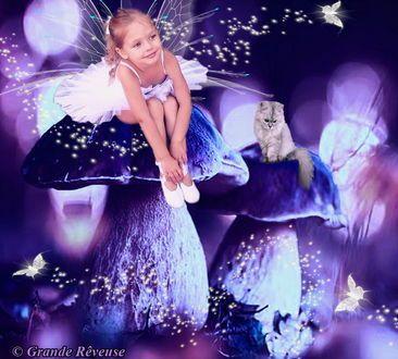 Обои Улыбающаяся девочка, сидящая на огромной шляпке гриба и сидящий рядом с ней серый котенок на другой шляпке гриба в окружении порхающих бабочек, автор Grand Reveuse