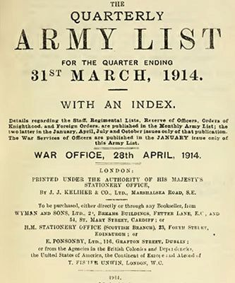 British Army List 1914 complete 12 months by CollectableMrJones