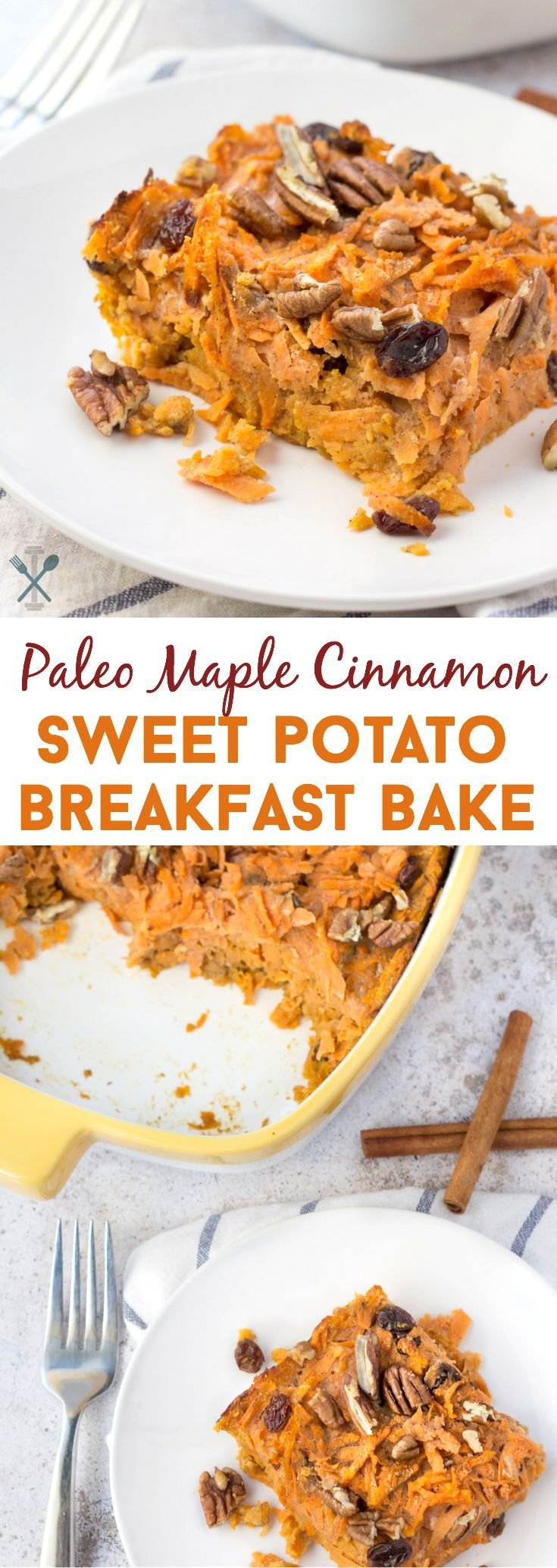 This paleo breakfast bake is the perfect way to start your day! Natural sweetened and made with shredded sweet potatoes. Warm, hearty, and healthy!