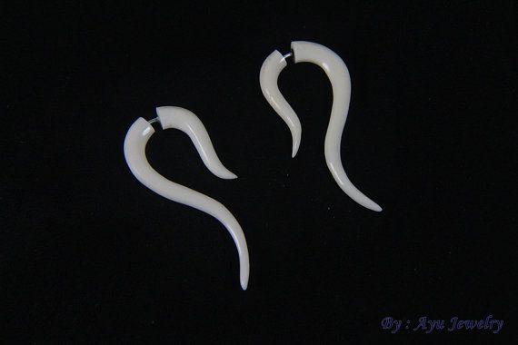 Bone Earrings Fake Gauges Tribal Plain Design Bone by ayujewelry  #FakeGuages #Earrings #Jewelry #Etsy