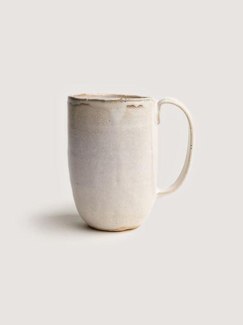 hand made, rustic, coffee mug, stoneware, white reactive glaze
