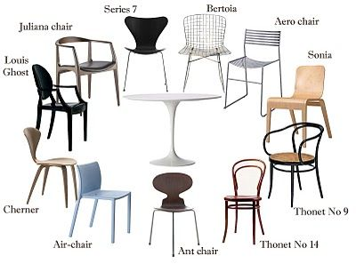 DINING: More ideas dining chairs that 'go' with the tulip table. Traditional and modern both work