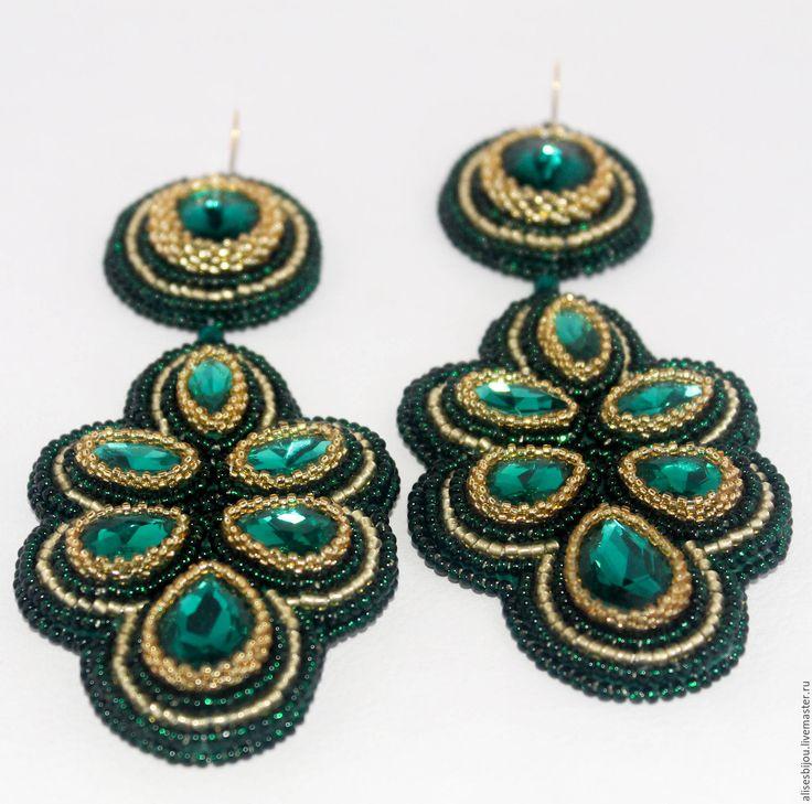Купить Серьги длинные Изумруд - зеленый, серьги, серьги длинные, Длиные серьги, серьги с камнем
