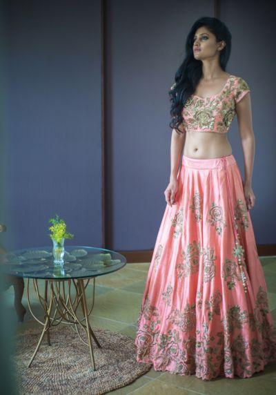 Sangeet Lehenga - Pink and Silver Lehenga | WedMeGood | Pink Silk Lehenga with Silver Embroidery, Pink Blouse with Silver Embroidery #wedmegood #indianbride #indianlehenga #lehenga #pink #silk #silver