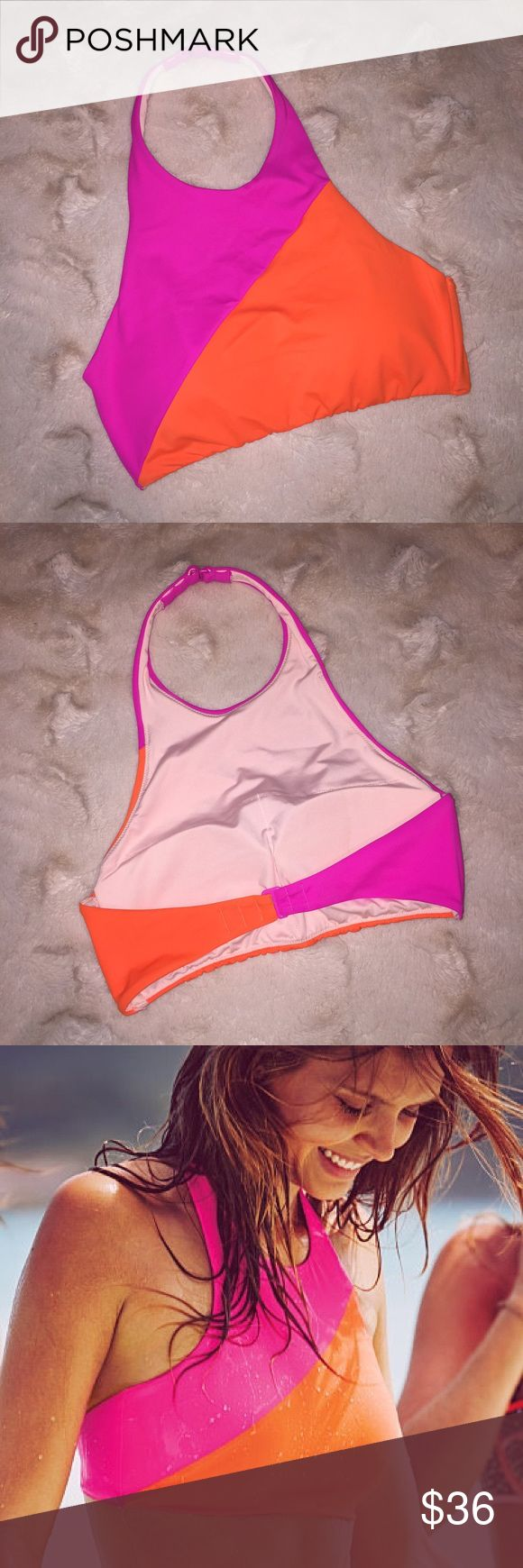 Colorblock High-Neck Top (Neon Lotus/Aloha Orange) Style: Colorblock High-Neck Swim Crop   Discount offered on all bundles! 🙌🏻   Please use the offer button (I will not negotiate prices in listing comments).   🚫 NO TRADES! 🚫  *Stock photos show example of style only. Actual picture and color of item is shown in 1st photo.   Related: VS, VSX, Victoria's Secret, PINK, Swim, Bikini, Bathing Suit, Beachwear, Swimwear, Two Piece, Follow Me, Follow Game Victoria's Secret Swim Bikinis