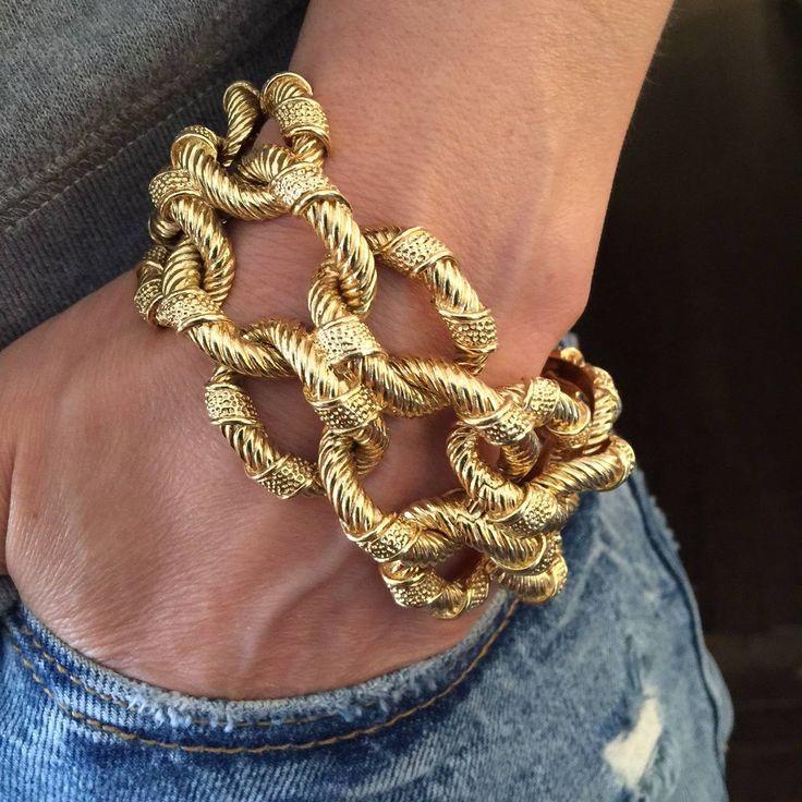 Van Cleef & Arpels Textured Gold Link Bracelet | From a unique collection of vintage link bracelets at https://www.1stdibs.com/jewelry/bracelets/link-bracelets/