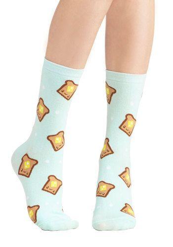 Bread and Breakfast Socks - Knit, Mint, Yellow, Tan / Cream, Casual, Quirky, Good, Kawaii, Novelty Print
