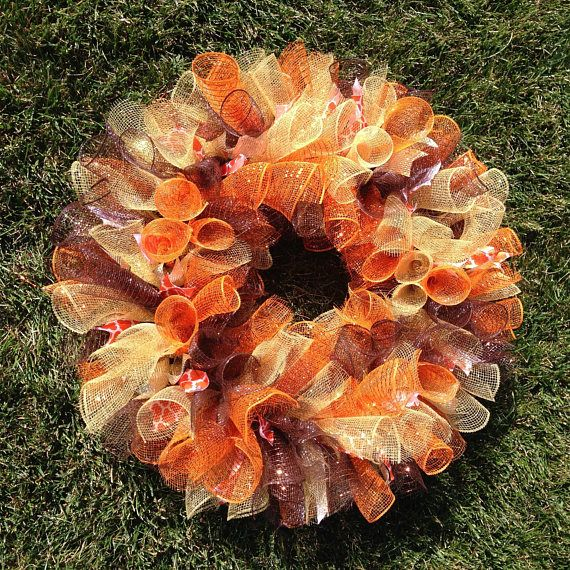 Fall Deco Mesh Wreath 22 inch Autumn Wreath Thanksgiving