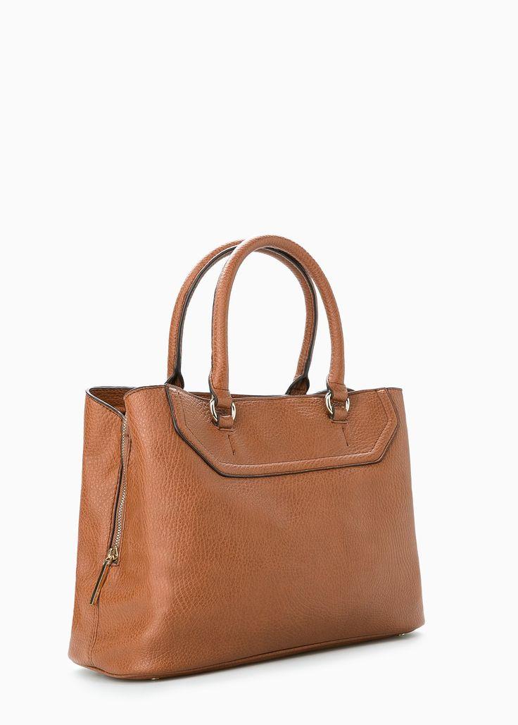 Carteira tote pisoada. Cor: Castanho médio. MANGO. Middle brown coloured bag.