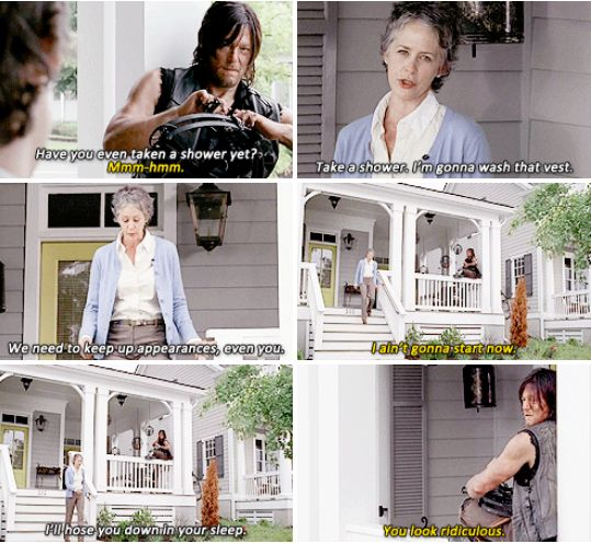 "Carol & Daryl - love this scene! The Walking Dead season 5, episode 12. ""You look ridiculous"""