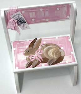 Personalized Step Stool ~ Pink Bunny ~ A hand painted wooden step stool/chair that is perfect for little ones to stand on to wash hands, brush teeth, etc; personalized with first name to make a unique, treasured baby gift.  $58.95 from ivyrosegifts.com