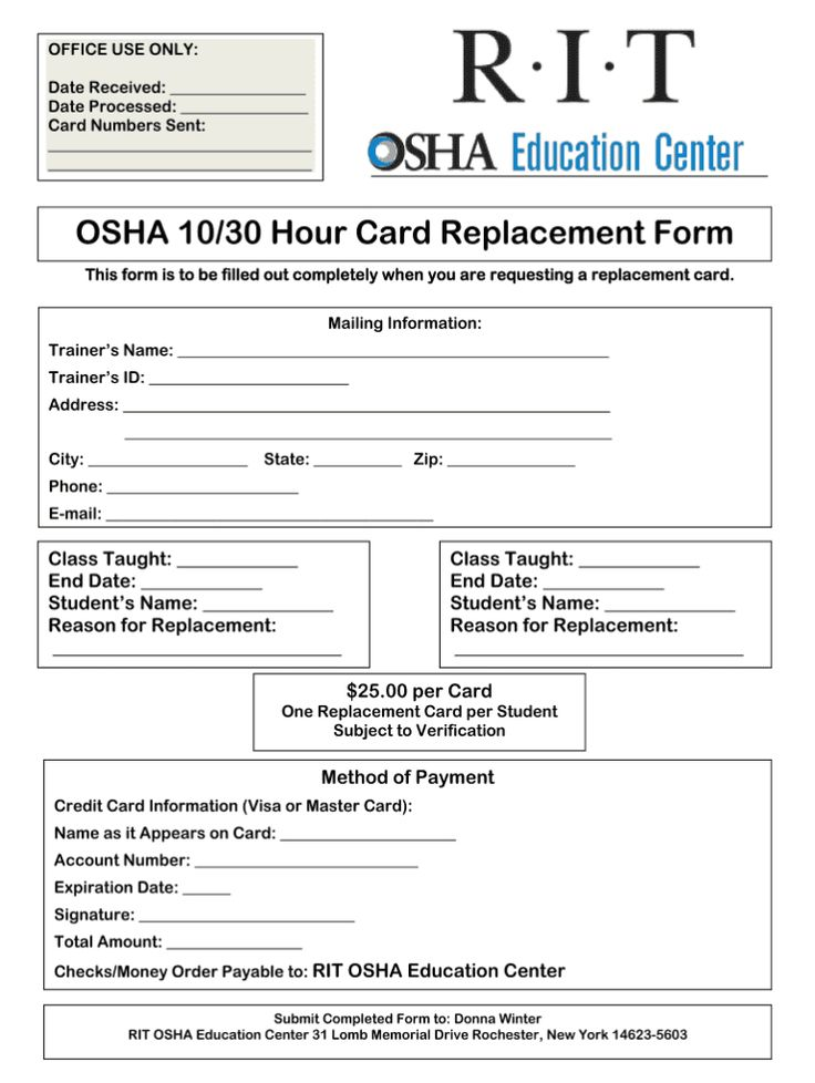 Osha 30 Card Template Fill Online, Printable, Fillable