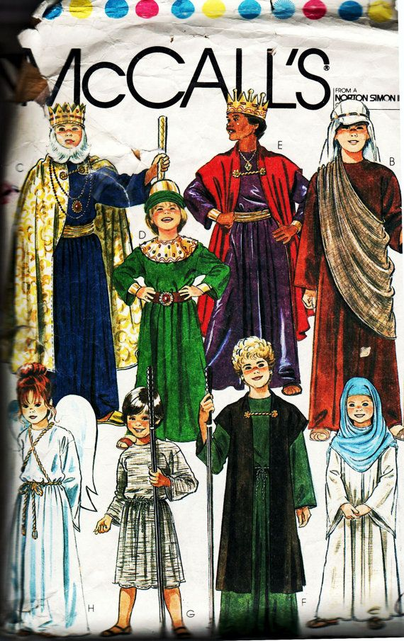 Vintage Childrens Sunday School or Halloween Costume Pattern, McCalls 7733--Kings, Shepherds, Angels--Girls or Boys Size Medium (8-10). All pieces are present. (The front facing for the gown was missing, but I have included a hand drafted replacement.)  This would work well for church or Sunday school programs as well as a basis for many Halloween costumes such as Lord of the Rings or Harry Potter wizards and witches. Patterns for crowns and wings are included. Watch for more sewing items…