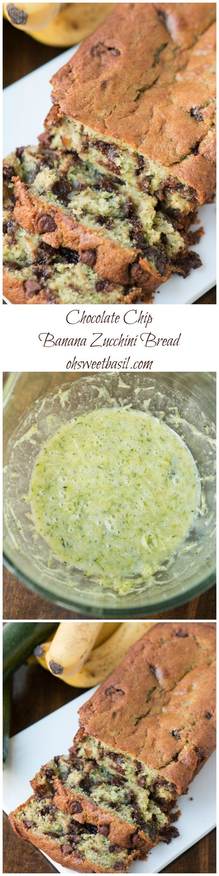 The Absolute BEST chocolate chip banana zucchini bread recipe ever! Like, I may only make banana bread like this from now on! ohsweetbasil.com