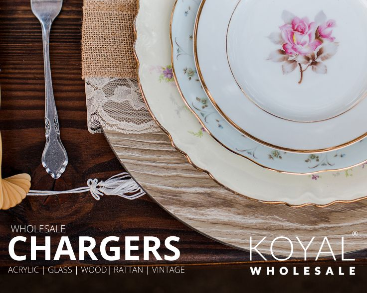 Wholesale wedding charger plates for table settings,  bulk wedding supplies, event centerpieces and floral decorations on sale FREE SHIPPING on $99+  Koyal Wholesale is the destination for DIY brides, event planners, and florists looking for wholesale wedding and event supplies, ideas, and decorations  Vases, votives, chargers, table linens, branches, table centerpieces, and more!
