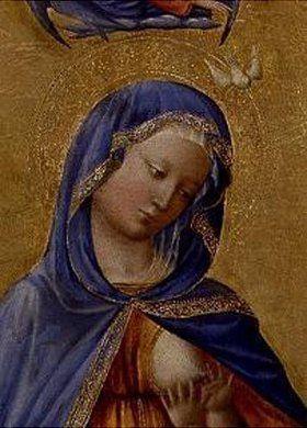 Masolino da Panicale: Maria con il bambino.  Particolare: testa di Maria.