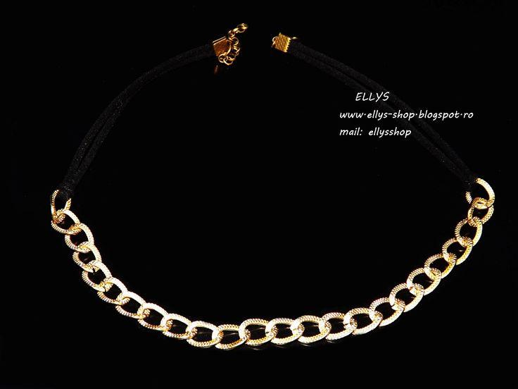 Ellys Shop: Colier la baza gatului bronz si imitatie piele int...