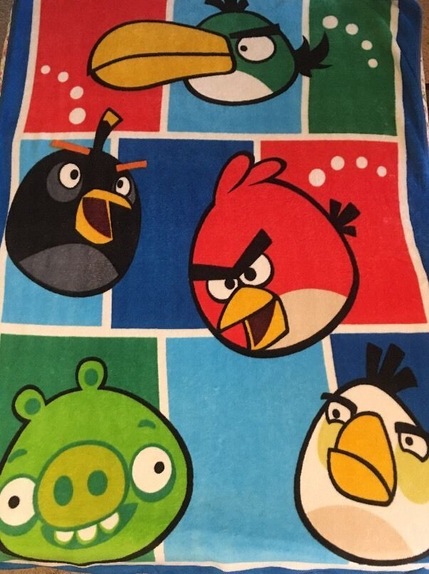 ROVIO Angry Birds GAME RED BIRD Heads FLEECE BLANKET CHILDRENS KIDS THROW #AngryBirds