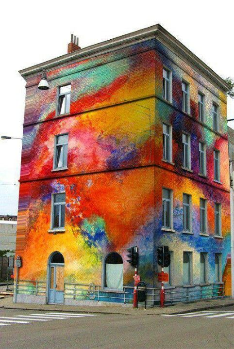 It looks like my tie dye shirt got splattered on this building. Pretty cool and impressive