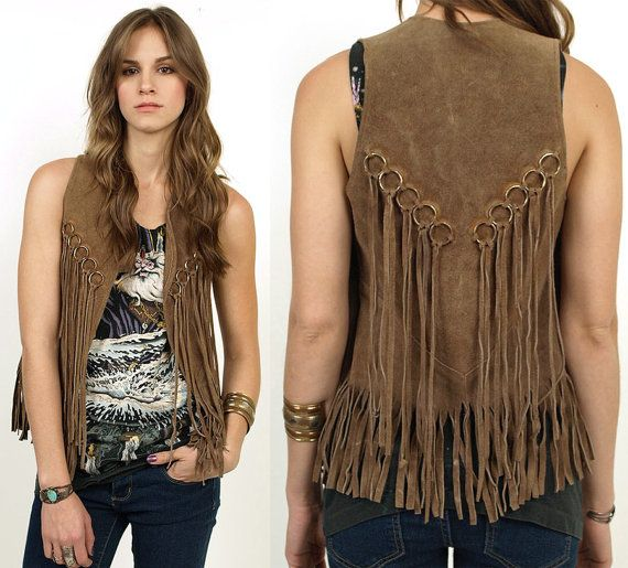 70's Suede FRINGE Leather Hippie Rocker Boho VEST Jacket XS/S
