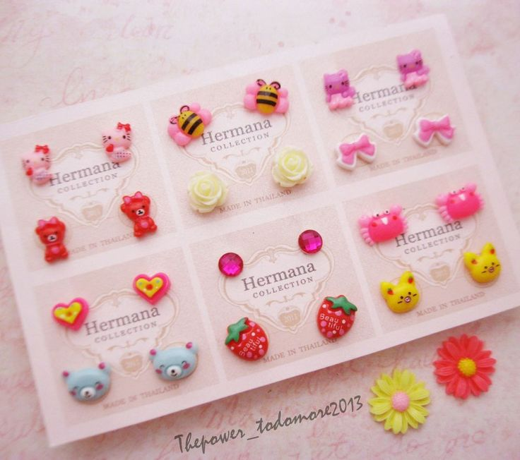 12 Pairs Lot of Cute Kids Plastic Soft Post Stud Earrings for Girls Children A5 #Handmade #Stud