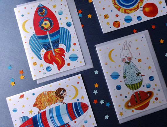 Farm Animals in Space A5 Greeting Card Set. Watercolor painting. Art Collectibles. Little boy room decor. Milky way. Animal Space Odissey.