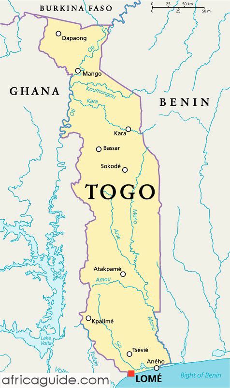 Togo map with capital Lome