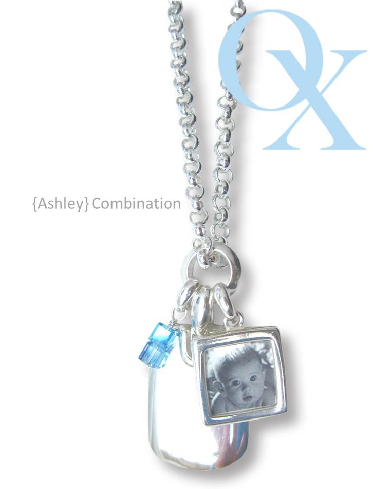 Ashley Combination- Our rolo chain with a lg double sided photo pendant, two swarovski squares, and a signature rectangle pendant that is fully customizable. www.lovelinx.ca