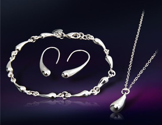 Be special: Water Drop Design Silver Plated Bracelet, Necklace...