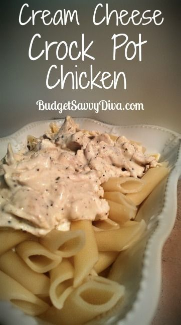 This recipe is SO easy -- but so yummy! This is going to be a new standard at my house.Chicken Recipes, Cheese Crockpot, Chicken Soups, Pots Cream, Crockpot Chicken Cream Cheese, Crock Pots Chicken, Budget Savvy, Cream Cheese Chicken, Cream Cheeses