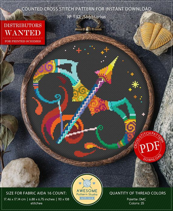 This is modern cross-stitch pattern of Sagittarius for instant download. You will get 7-pages PDF file, which includes: - main picture for your reference; - colorful scheme for cross-stitch; - list of DMC thread colors (instruction and key section); - list of calculated thread