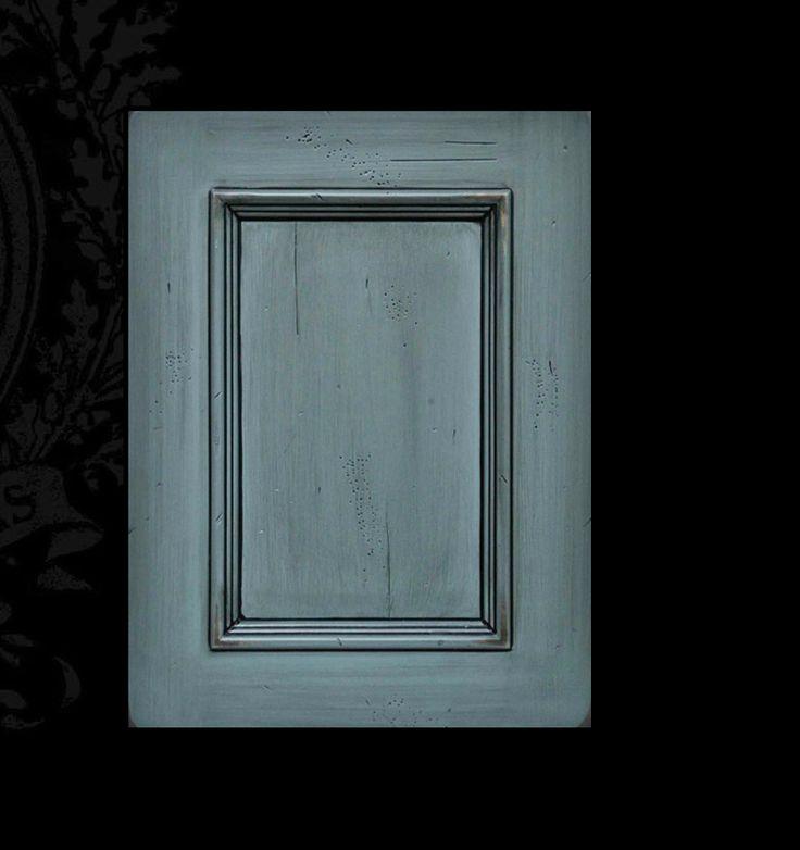 Benedettini Cabinets San Antonio Door Maple Wood Blue Slate Signature Finish Cabinetry